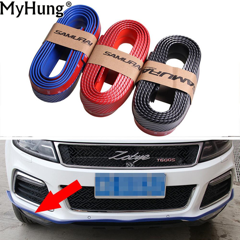 2.5Mx6CM Car Styling Carbon Fiber Bumper Strip Rubber Exterior Wrap Protector Front Bumper Scratches Guard Lip Clips Car Sticker protective pvc car bumper guard protector sticker white 2 pcs
