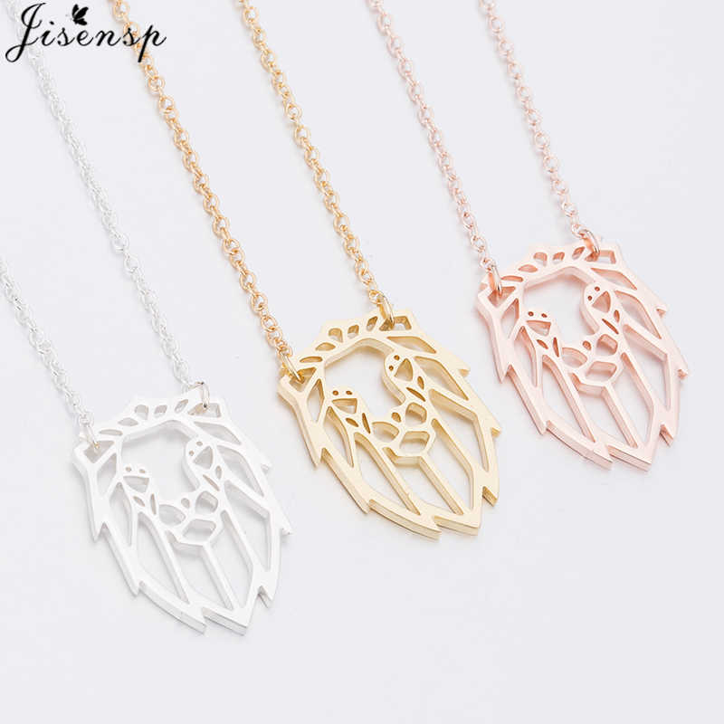 Jisensp Origami Lion Necklace Women Cute Lion Head Pendant Charm Necklaces Geometric Animal Jewelry Necklace Accessories Mujer