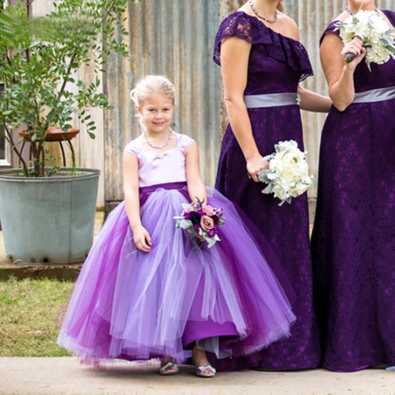 Aliexpress.com : Buy 2016 Designer Tulle Purple Flower Girl ...