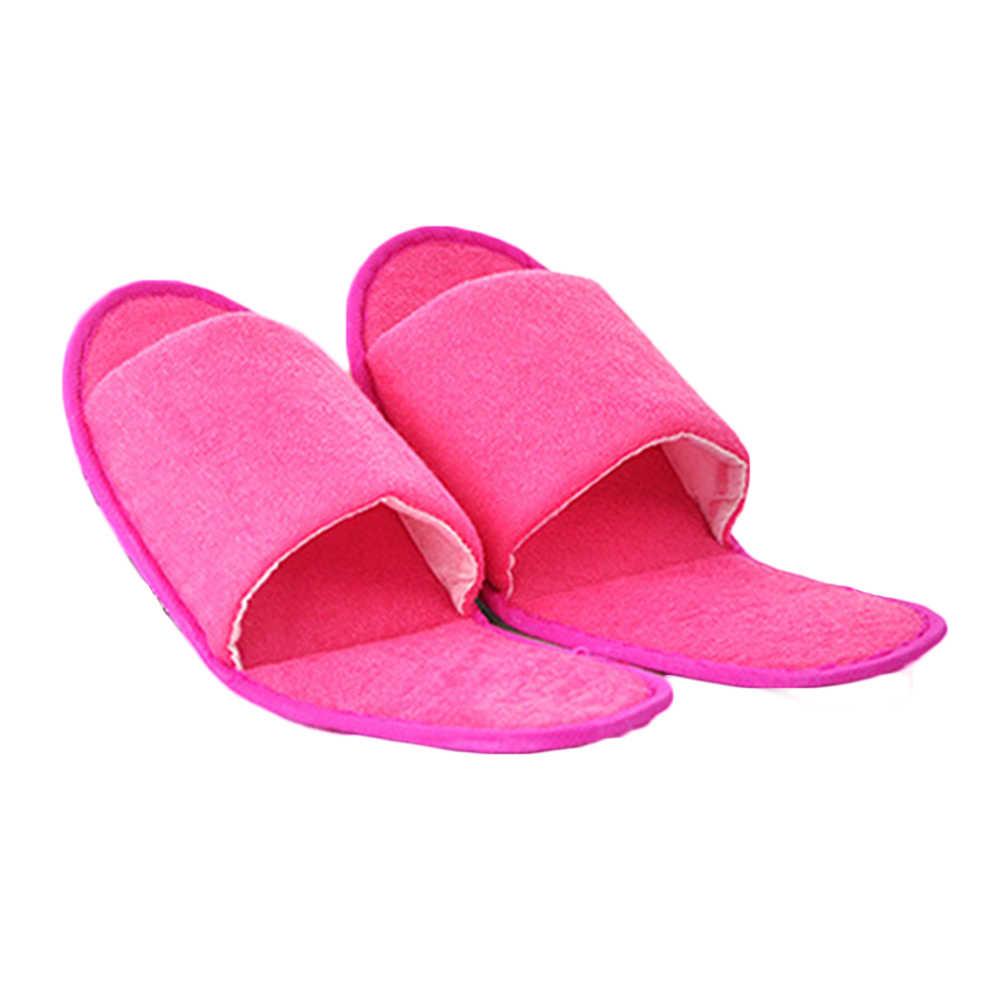 Düz renk basit terlik erkekler kadınlar otel seyahat Spa taşınabilir katlanır ev slaytlar tek kullanımlık ev ev terliği ayakkabı