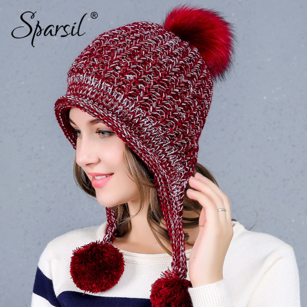 3c9d42a5bb22d Detail Feedback Questions about Sparsil Women Winter Wool Hat Neck Ear  Warmer 2 Color Knitted Soft Cute Hairballs Decoration Female Warm Fleece  Knit Bomber ...