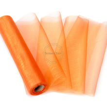5 Rolls 25M x 29CM Orange Sheer Organza Roll Fabric DIY Wedding Party Chair Sash Bows Table Runner Swag Decor Hot sale(China)