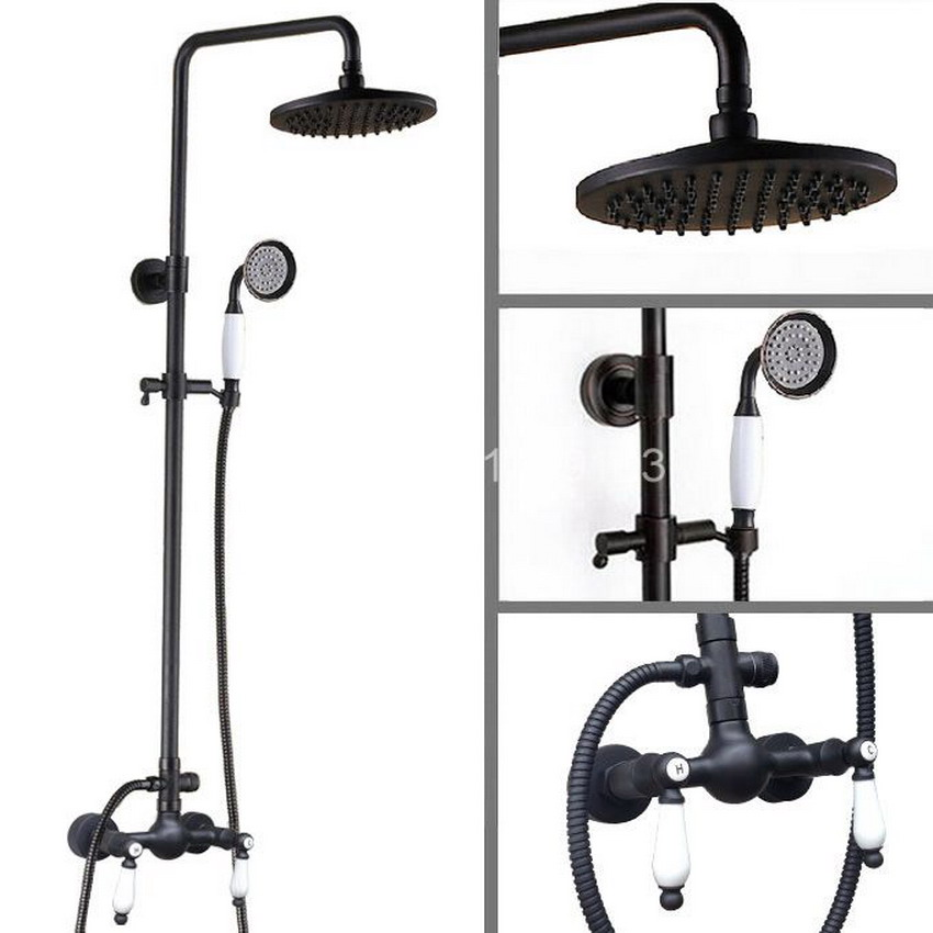 Brass Black Oil Rubbed Bronze Bathroom Rainfall Bath Shower Mixer Tap Faucet Dual Ceramic Handles Wall Mounted ars474