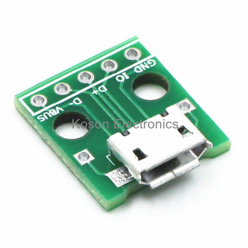 10pcs Mini Micro USB to DIP 2.54mm Adapter Connector Module Board Panel Female 5-Pin Pinboard 2.54mm Micro USB PCB Type Parts usb to rs485 module black
