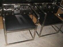 Cuero de vaca genuino silla / cuero real / ocio / silla de sala de estar muebles para el hogar de estilo post moderno marco de acero inoxidable