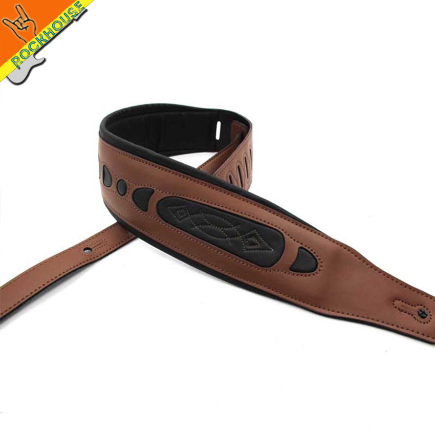 Electric Guitar strap bass straps leather guitar strap interlining with thick senior leather 8.5cm soft Strong durable Wholesale electric guitar pu leather belt straps acoustic guitar bass strap stamping imitation snakeskin stone texture straps