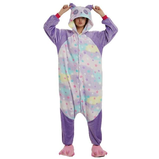 Winter Soft Cute Starry Panda Cosplay New Flannel Women Men Animal Pajamas  Adult Christmas Sleepwear Cartoon Pyjamas Onesies 1f28333c9