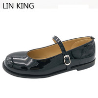 LIN KING New Spring Autumn Casual Buckle Women Flats Shoes Patent Leather Ladies Lolita Princess Shoes