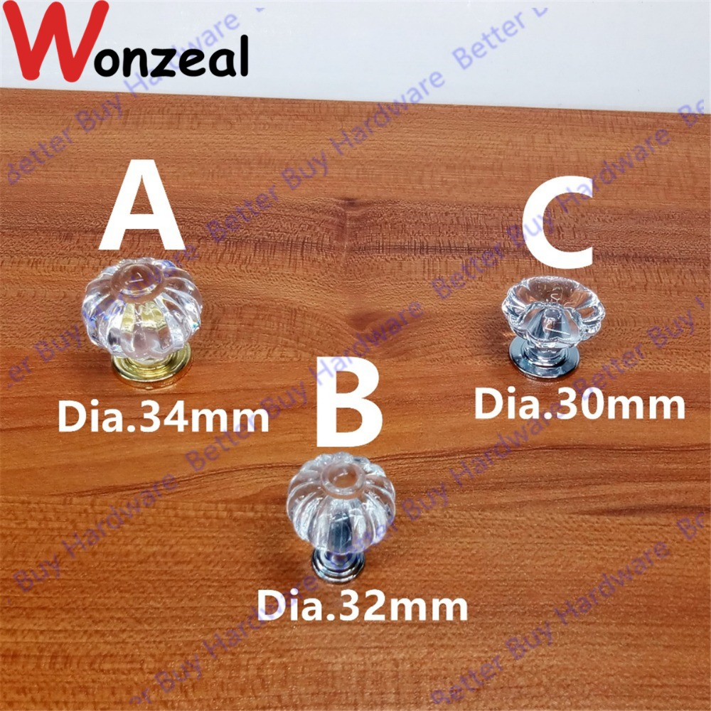 5pcs Dia. 32mm/34mm/30mm  Acrylic transparent pumpkin shaped single hole furniture handle knob kitchen cabinet pull handle knob