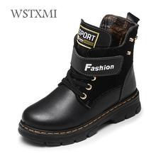 Autumn Winter Kids Boots for Boys Shoes Fashion Mid Calf Snow Boots Genuine Leather Plush Warm Waterproof Children Martin Boots