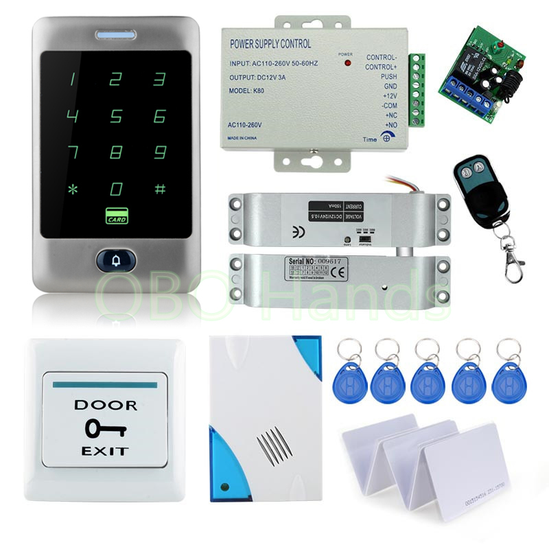 Remote control door locks system with High quality metal waterproof touch keypad+12V power supply+door bell+bolt lock+keycards high tech door locks apartment combination lock touch keypad for door access