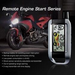Steelmate دراجة نارية 2 طريقة نظام إنذار أمني التحكم عن بعد محرك بدء مكافحة سرقة إنذار الأمن LCD الارسال