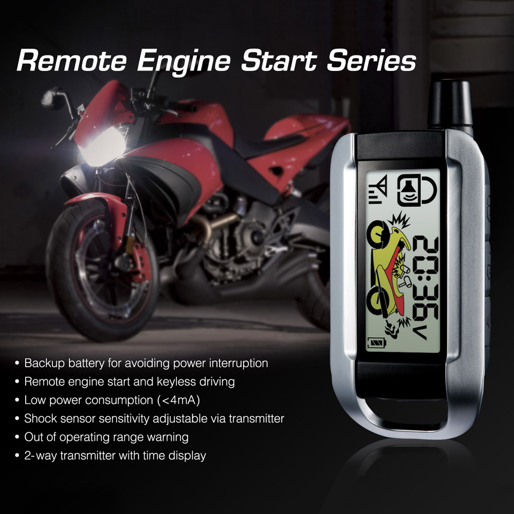 Steelmate Motorcycle 2 Way Alarm Security System Remote Control Engine Start Anti-theft Security Alarm LCD Transmitter
