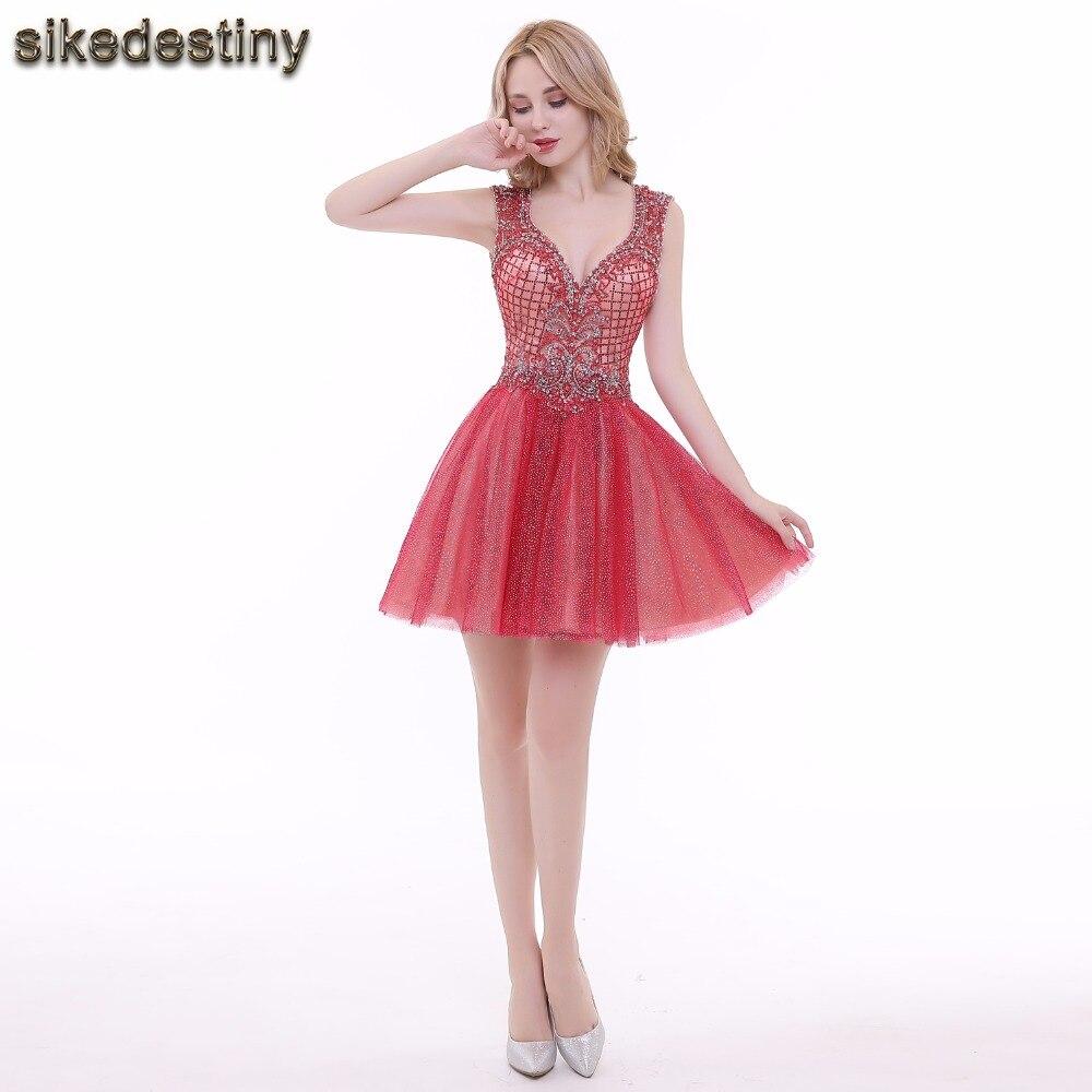 tiefe v-ausschnitt kurze abendkleid burgund party kleider high low semi  formal kleid abendkleid mit pailletten spitze perlen tüll