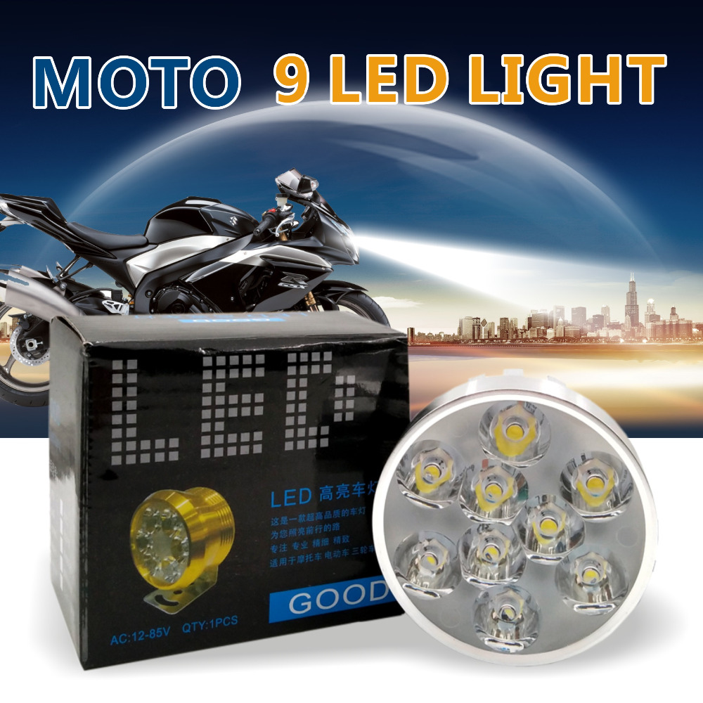 9 Chips Universal LED Motorcycle Headlight Driving Fog Spot Head Light Spotlight Assist Lamp Light Switch for honda cm
