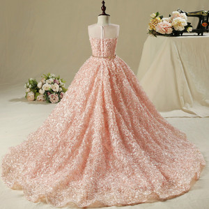 Платье с цветами для девочек, свадебное платье для девочек, розовое длинное платье со шлейфом, праздничное платье для девочек, детская одежд...