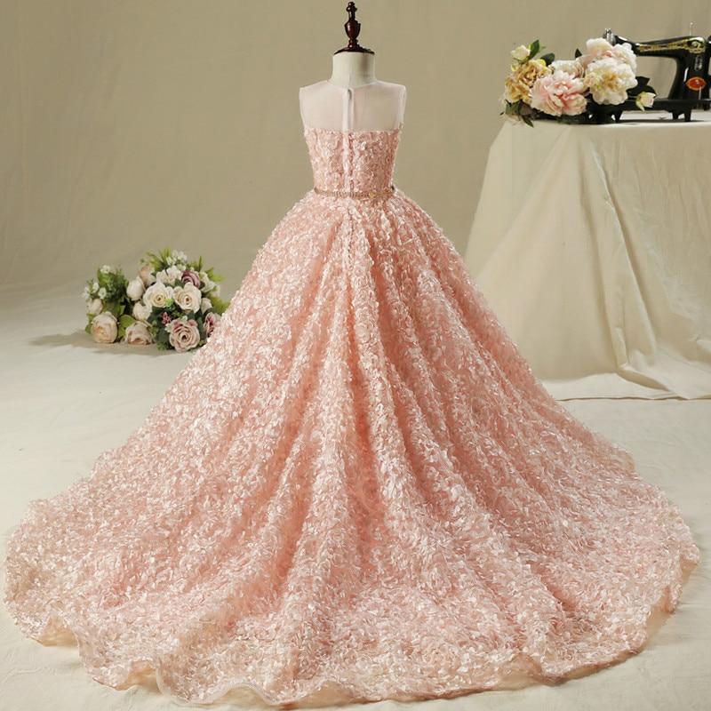 Flower Girl Dress Girl Wedding Dress Pink Long Trailing Dress Girls Party Dress Kids Birthday Clothing for 2 13 years