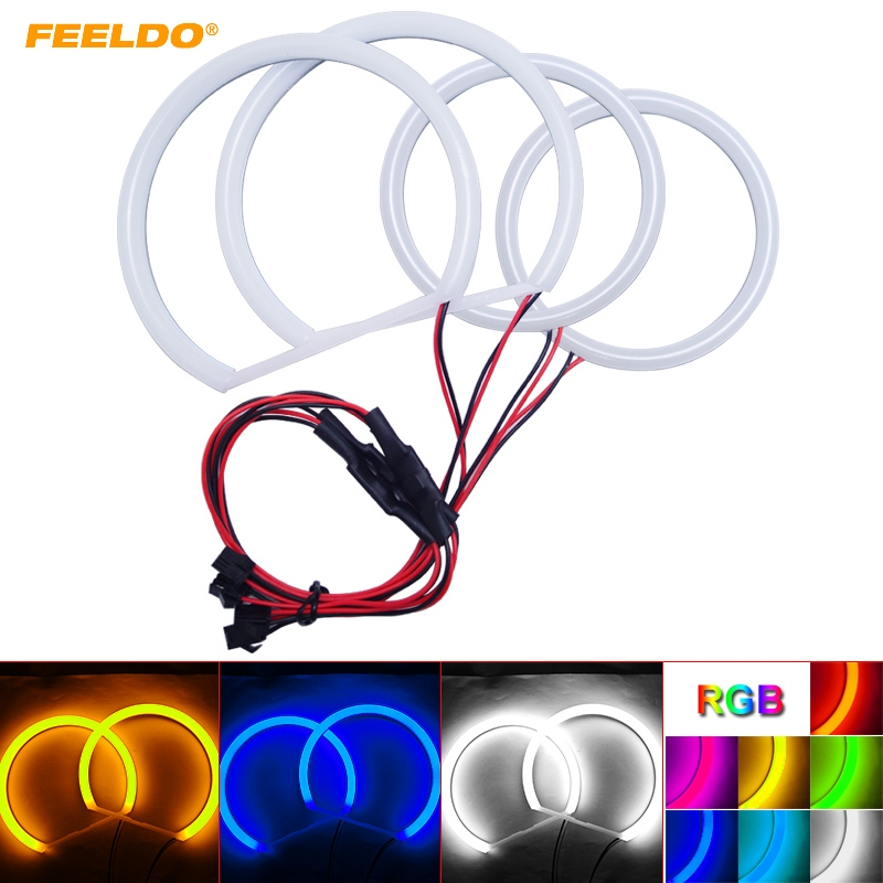 FEELDO 1Set Auto Halo Rings Cotton Lights SMD LED Angel Eyes for Ford Focus 08+ Car Styling 4 Color