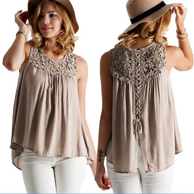 2017 Summer Style Women Casual Chiffon Blouses Solid Sleeveless ...