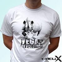 Vegan Revolution Rhino white t shirt top tee veggie vegetarian all sizes 2019 fashion t shirt,100% cotton tee shirt