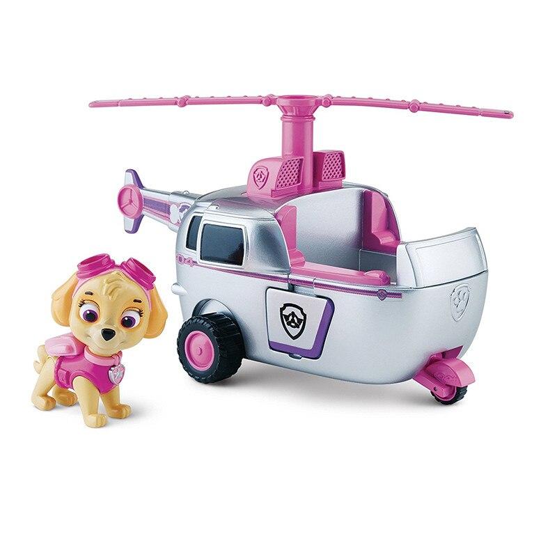 Pata patrulha cão skye alta flyin helicóptero funciona com patrol filhote de cachorro cachorro pata patrulha carro figura de ação patrulla canina brinquedos crianças presente