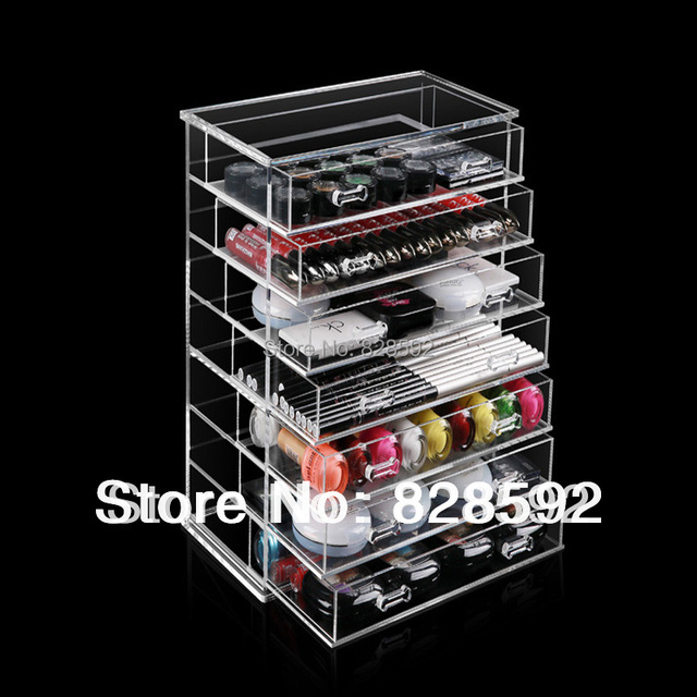 Free Shipping Handmade Clear Makeup Organizer Cosmetic Acrylic Storage Drawers Case Display Box Jewelry Holder