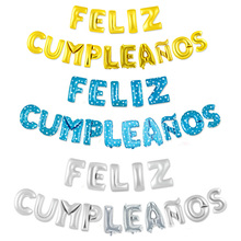 16 inch  Letters FELIZ CUMPLEANOS Foil Balloons Happy Birthday Party Decoration Kids Alphabet Air Baby Shower Supplies