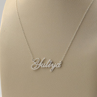 925 Solid Silver Name Necklace with Crystal Custom Nameplate Pendant Mom Gift Personalized