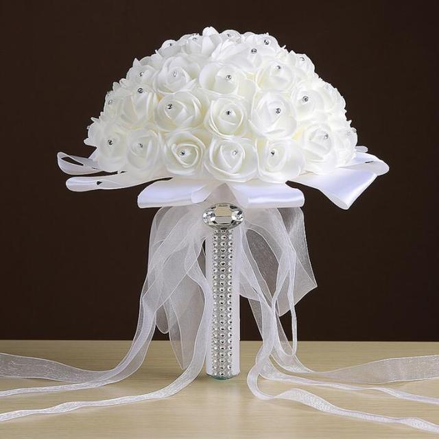 High Quality Artificial Rose Foam Flower Brides Maid Wedding Bridal Bouquet White Satin Crystal Bouquets