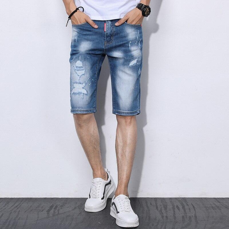 New 2018 Summer Light Blue Men Short Jeans Denim Trousers Hot Sale Ripped Board High Quality Men Blue Jeans 38