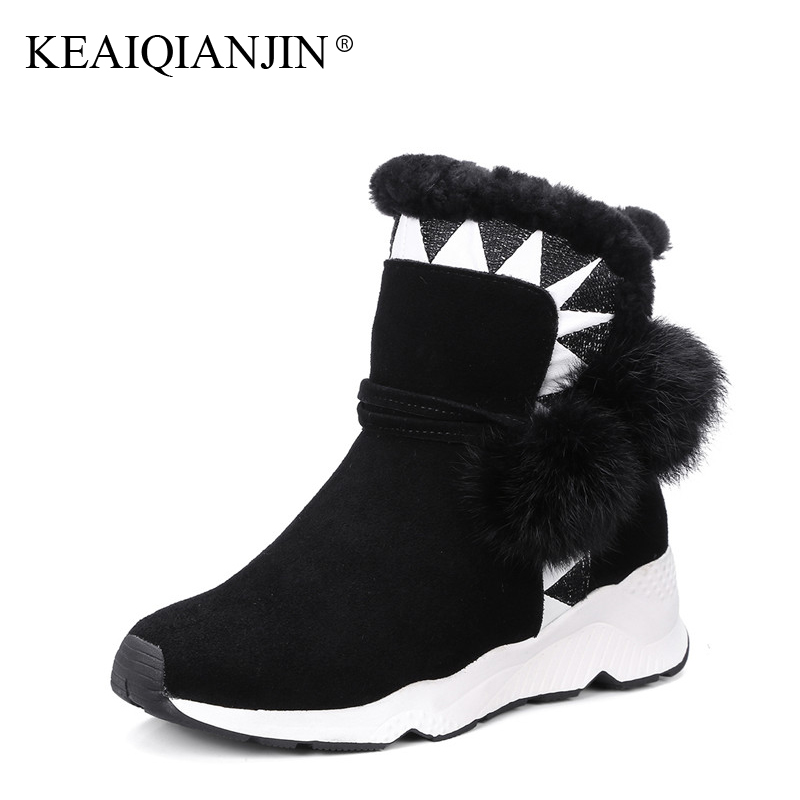 KEAIQIANJIN Woman Fur Snow Boots Crystal Winter Genuine Leather Shoes Black Grey Brown Platform Shearling Ankle Boots Flat With keaiqianjin woman studded snow boots pink black winter genuine leather flat shoes flower platform fur crystal ankle boot 2017
