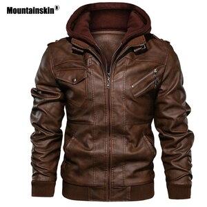 Image 1 - Mountainskin חדש גברים של מעילי עור סתיו מזדמן אופנוע PU מעיל עור אופנוען מעילי מותג בגדים האיחוד האירופי גודל SA722