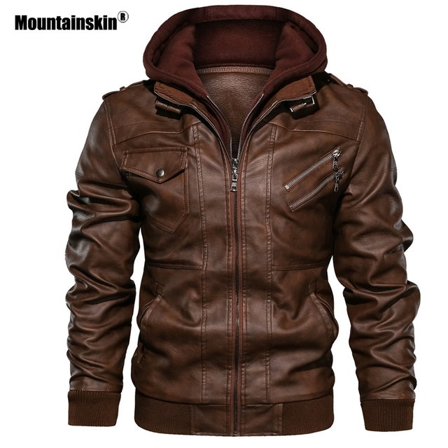 Mountainskin חדש גברים של מעילי עור סתיו מזדמן אופנוע PU מעיל עור אופנוען מעילי מותג בגדים האיחוד האירופי גודל SA722