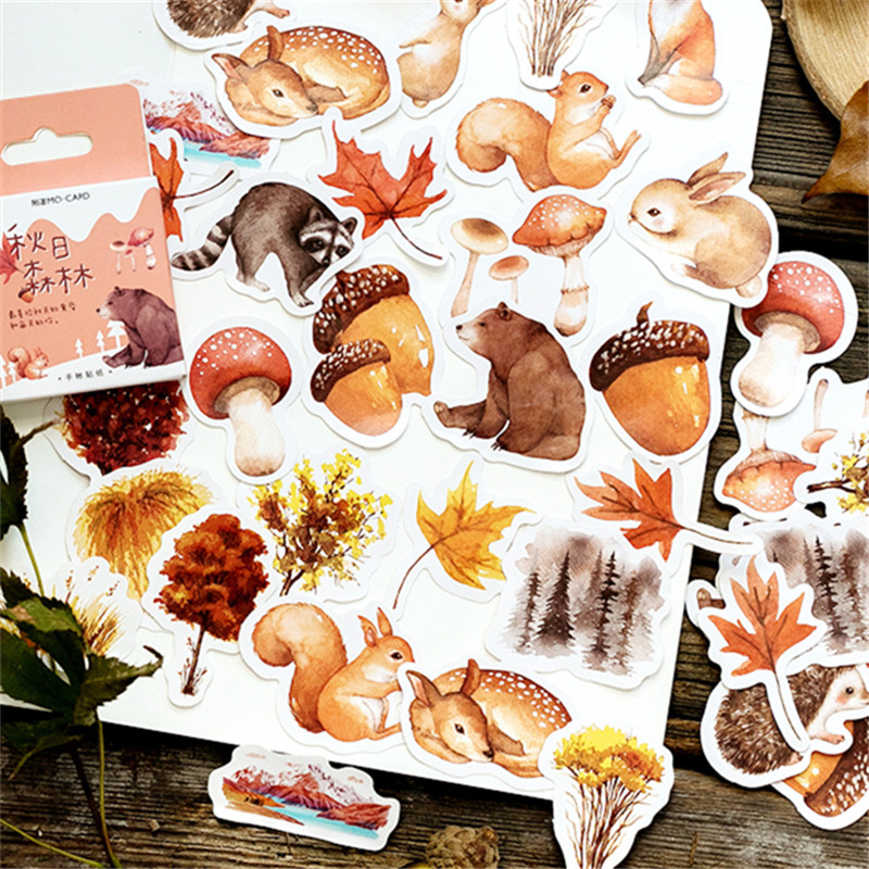 46 Pcs/box Autumn Forest Party Adhesive Diy Stickers Decorative Album Diary Stick Label Decor Stationery Stickers46 Pcs/box Autumn Forest Party Adhesive Diy Stickers Decorative Album Diary Stick Label Decor Stationery Stickers