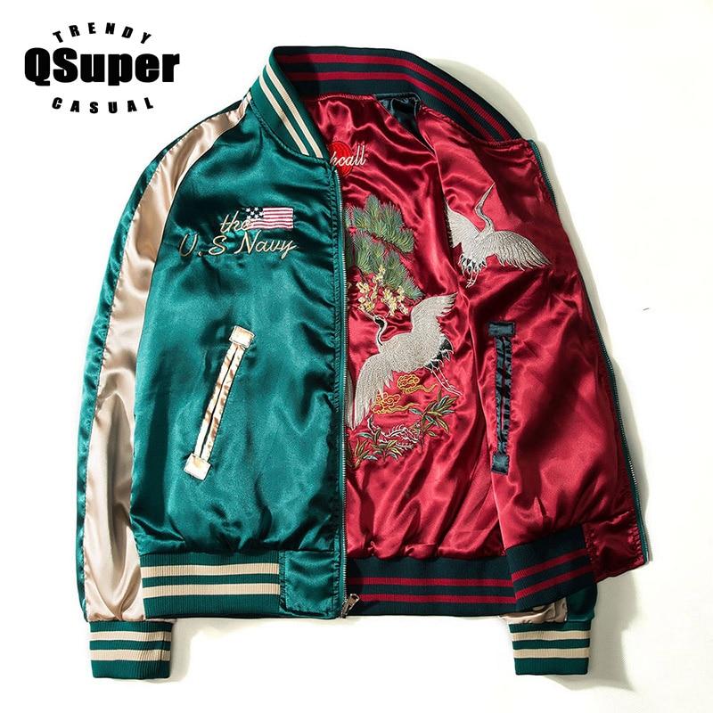 20f9eb27b QSUPER Two Sides Luxury Embroidery Bomber Jacket Smooth Men Sukajan  Yokosuka Souvenir Jacket Streetwear Hip Hop Baseball Jacket
