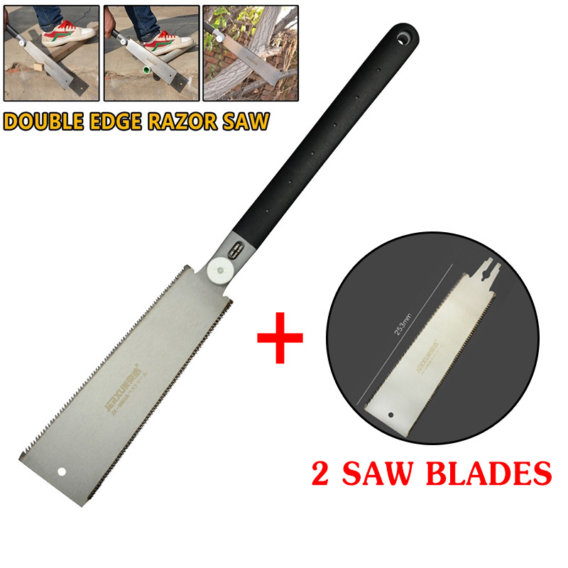 Double Edge Razor Saw Japanese Ryoba Style Pull Saw 14/9 Teeth Hand Tools For Slim Tenon Woodworking Precise Saw Blades 9-1/2