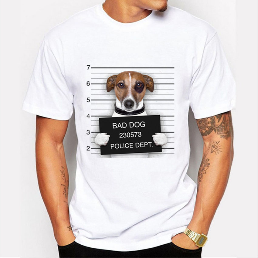 fashion bad dog print t shirt men summer style hipster tee. Black Bedroom Furniture Sets. Home Design Ideas