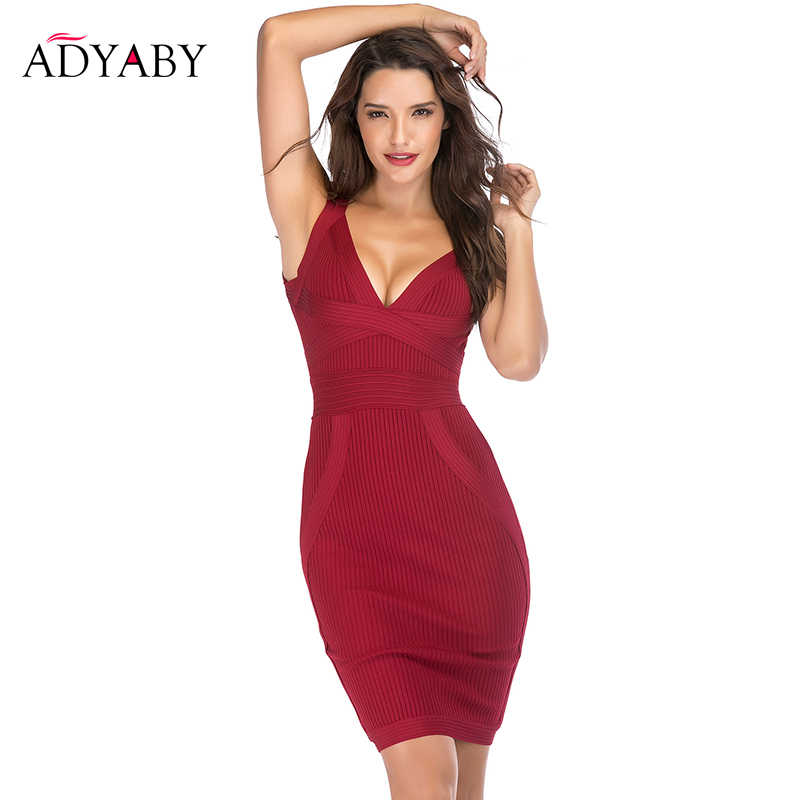 17c26fd3d14 Sexy Party Bandage Dress Women Summer 2018 Newest Sleeveless V Neck Bodycon  Dresses Ladies Celebrity Nightclub