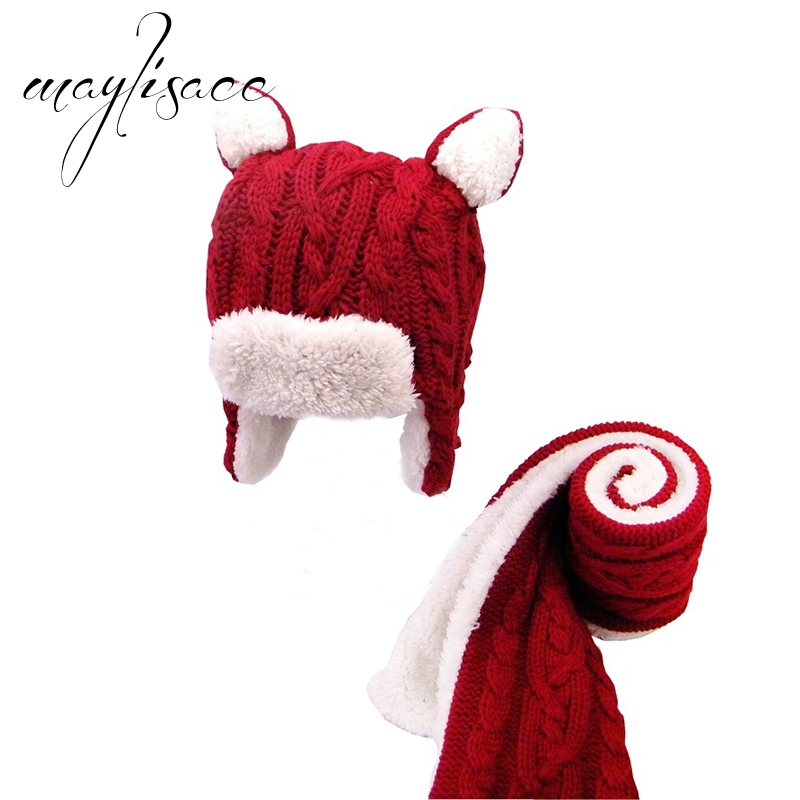 Maylisacc Red Colors Kids Winter Warm Knitted Hat With Scarf New Arrival For Girls Boys Outdoor Sports Scarves With Hat Set