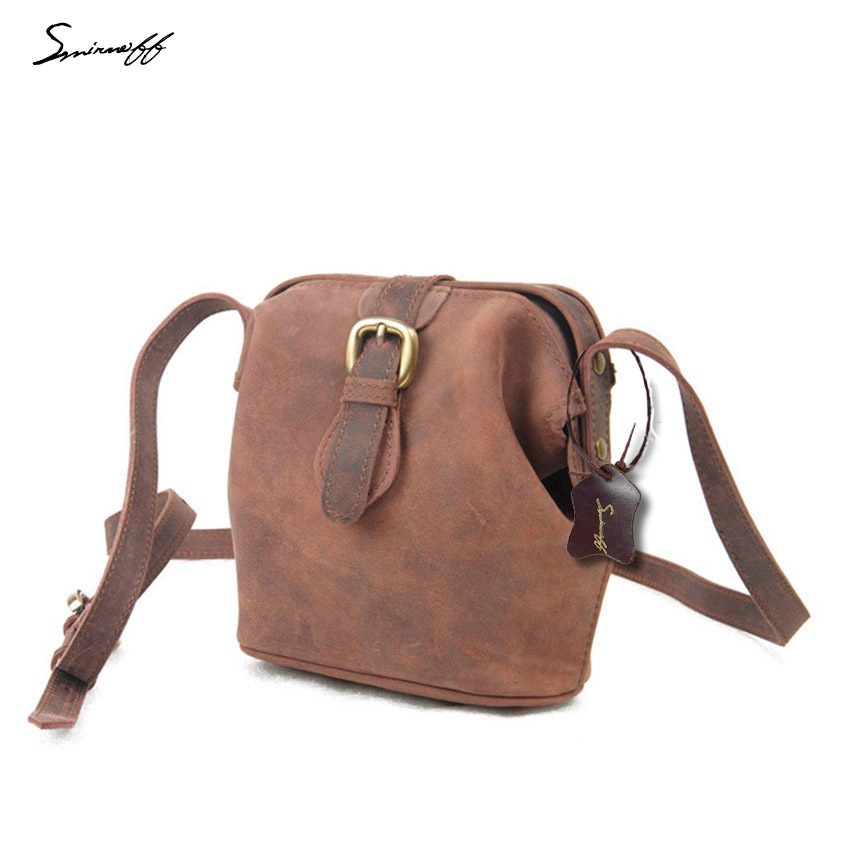 ФОТО SMIRNOFF 2017 Summer Women Handbag Crazy Horse Genuine Leather Messenger Bag Famous Brand Shoulder Bag Women Fashion Handbag