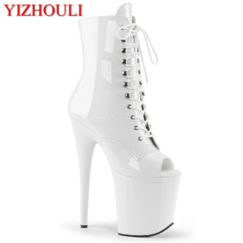 PU High-heeled Shoes With Vamp Of 20cm, Thick Boots With Thin Belt, Low Tube Women's Pole Dancing Shoes