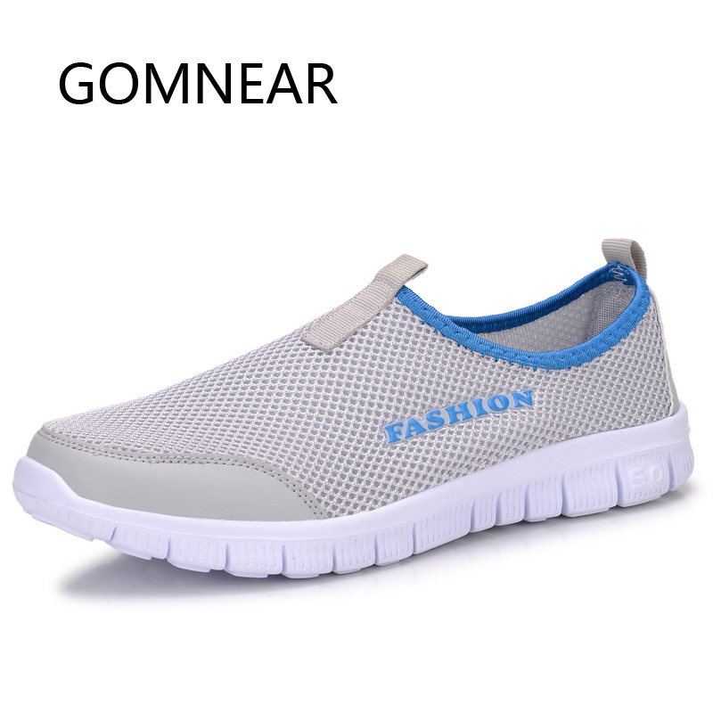 16cc77fda00ab GOMNEAR Men Women Super Light Running Shoes Blue Red Outdoor Breathable  Mesh Running Shoes Gym Slip