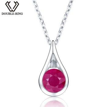 5a5624d8524f DOUBLE-R 1.3ct natural rojo rubí Collares Colgantes 925 plaza de plata fina  boda joyería Colgantes para las mujeres