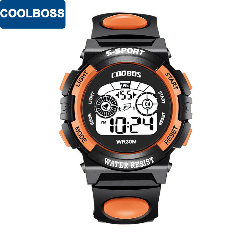COOLBOSS Sport Student Children Watch Cute Kids Watches For Boys 2018 Girls Clock Child Hour Electronic LED Digital Wristwatch children sport watches digital wristwatches for student kids boys girls clock 2018 led electronic watches waterproof kol saati
