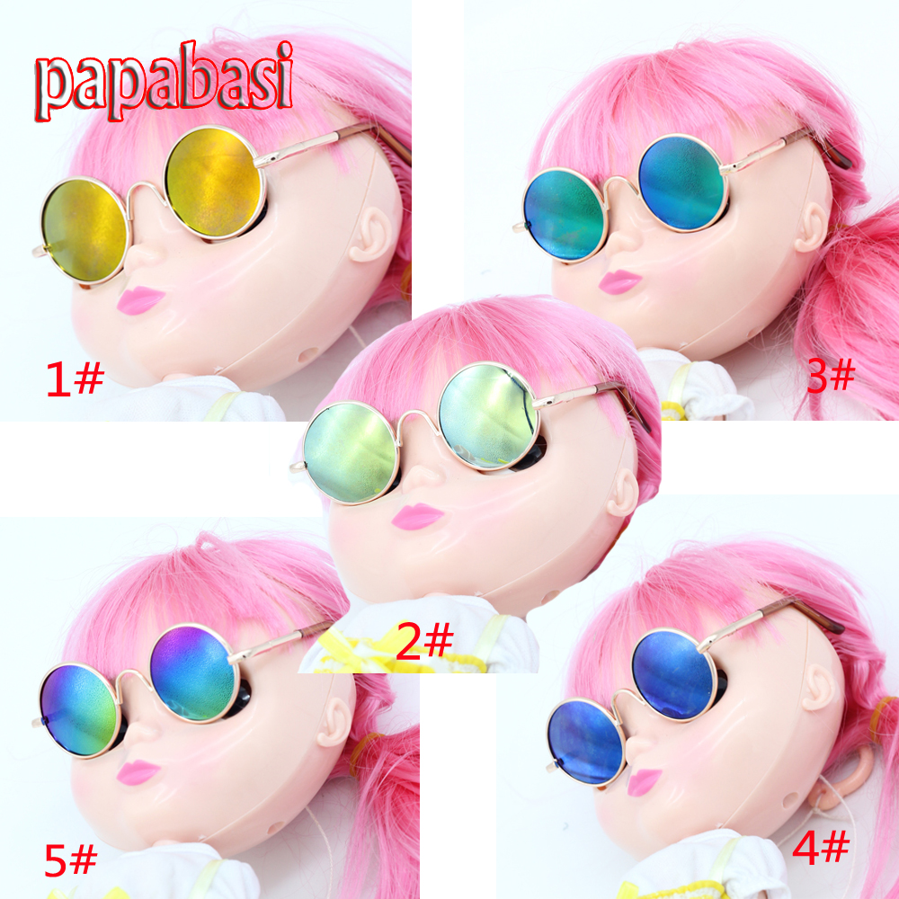 Papabasi 1pcs Round Sunglasses Doll Glasses for BJD Blyth 1/6 dolls Eyeglasses + mix free Retail packaging  new style doll accessories round shaped glasses sunglasses suitable for 1 3 bjd dolls mini doll glasses for dolls good quality