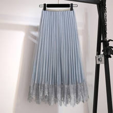 YICIYA blue Vintage tutu Mesh Pleated lace skirt for women girls plus size large solid midi skirts 2019 summer female clothing