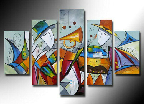 Oil Paintings Music Instrument Violin Huge Modern Abstract Art High Quality  Hand Painted Home Office Wall