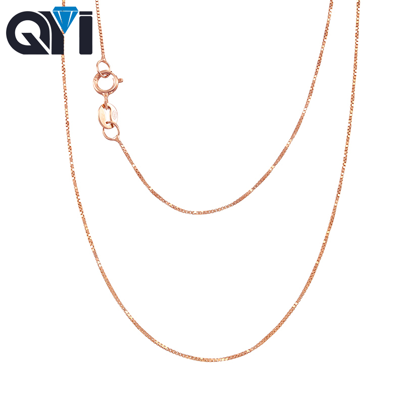 QYI Jewelry Fashion 18K White Yellow Rose Gold Link Chain 16-18 inches Au750 Necklace Pendant Wendding Party Gift For Women yoursfs 18k rose white gold plated snowflake necklace for girls crystal snowflake pendant necklace for women sparkle party jewelry