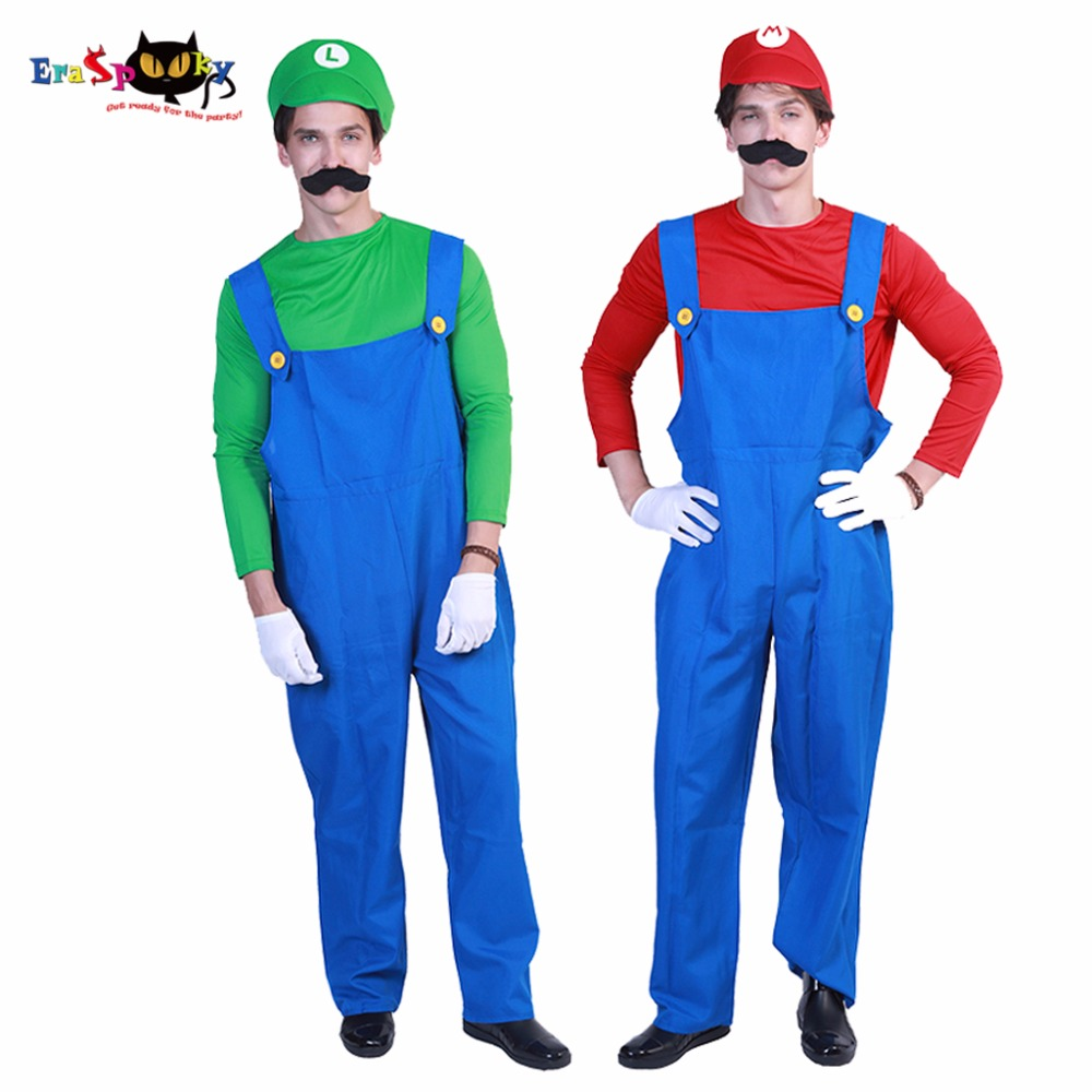 Eraspooky halloween costume adult high quality game cosplay Men Deluxe Mario and Luigi Costume set mens funny costumes for party