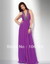free shipping 2014 new design vestido de festa Formal Pageant sexy Elegant party prom purple long chiffon evening gown dresses